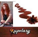 Vlnité vlasy na metodu keratin 60cm 0,7g - měděná #350