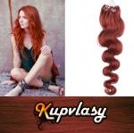 Vlnité vlasy na Micro Ring 50cm 0,7g - měděná #350