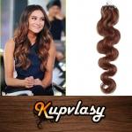 Vlnité vlasy na Micro Ring 60cm 0,5g - světlejší hnědá #6