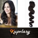 Vlnité vlasy na Micro Ring 60cm 0,7g - přírodní černá #1b
