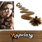 Vlnité vlasy na metodu keratin 60cm 0,5g - nejsvětlejší hnědá #12